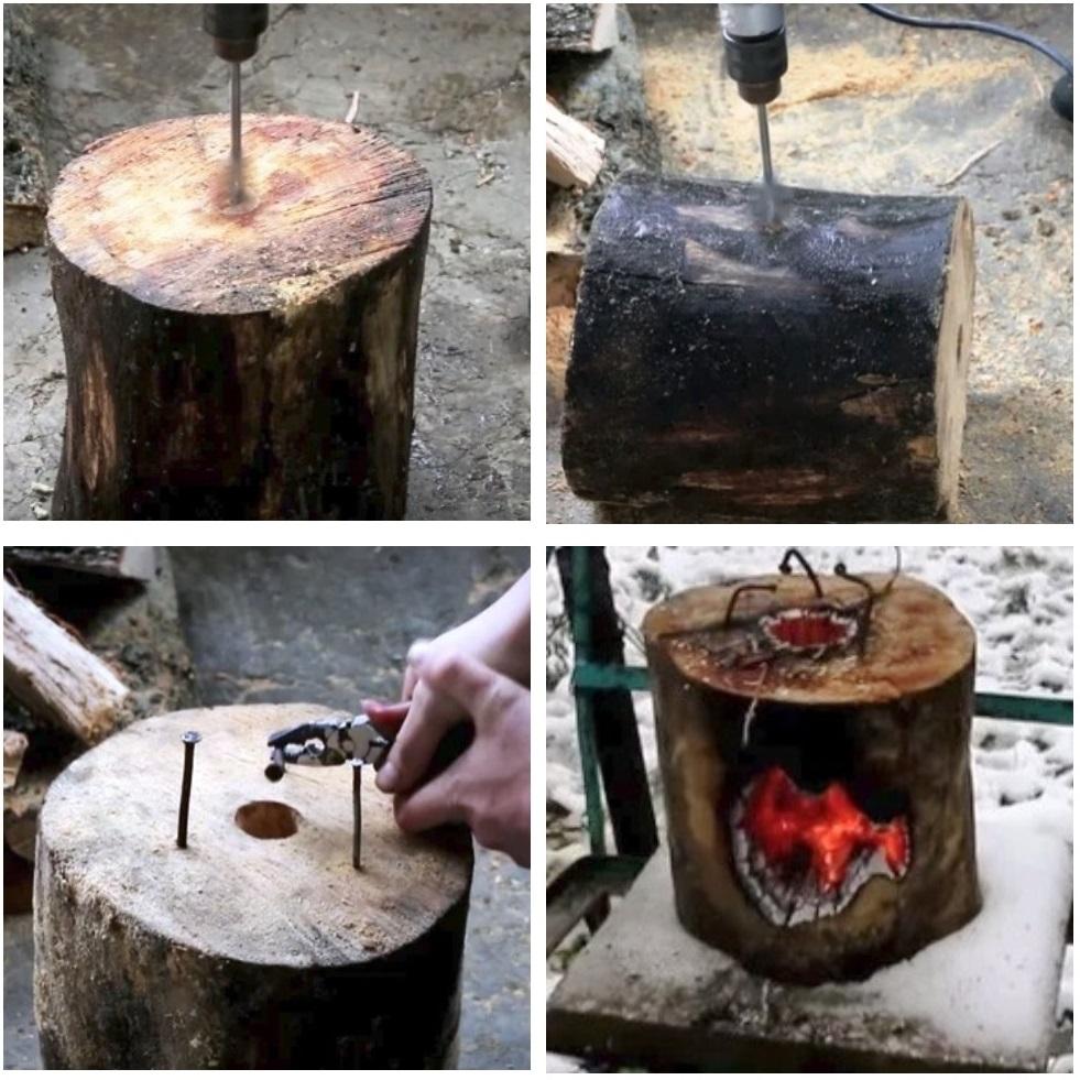 Изготовление плиты из полена